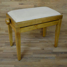 Load image into Gallery viewer, Oak matt and beige velvet piano stool