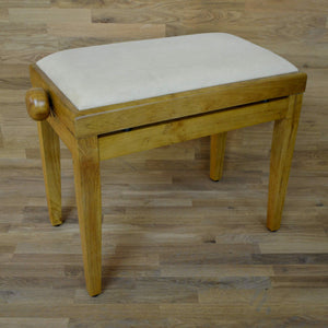 Oak matt and beige velvet piano stool