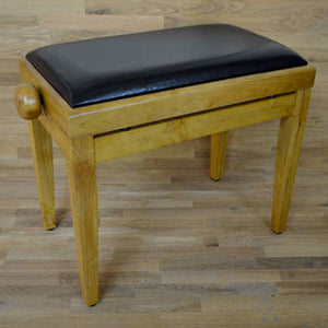 Oak matt and black leather piano stool