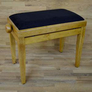 Oak matt and black velvet piano stool