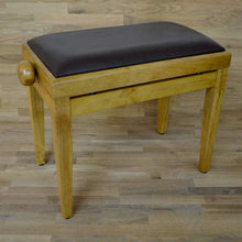 Load image into Gallery viewer, Oak matt and brown leather piano stool