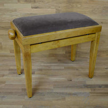 Load image into Gallery viewer, Oak matt and brown velvet piano stool