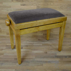 Oak matt and brown velvet piano stool