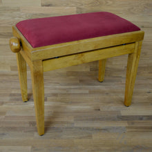 Load image into Gallery viewer, Oak matt and red wine velvet piano stool