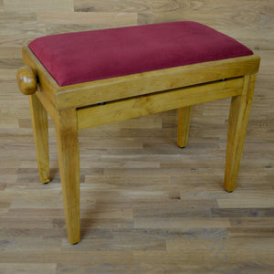 Oak matt and red wine velvet piano stool