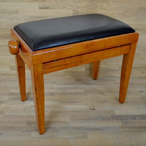 Polished Cherry Piano Bench black leather