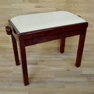 Polished mahogany and beige velvet piano stool