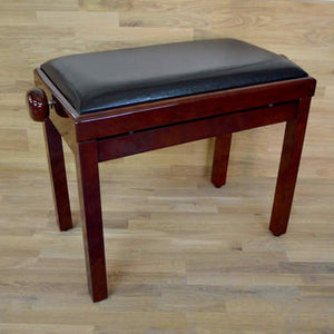 Polished mahogany and black leather piano stool