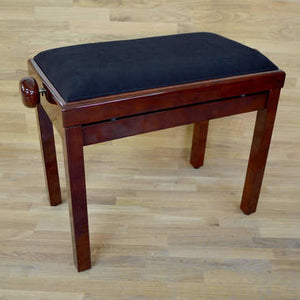 Polished mahogany and black velvet piano stool