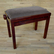 Load image into Gallery viewer, Polished mahogany and brown velvet piano stool