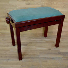 Load image into Gallery viewer, Polished mahogany and green velvet piano stool