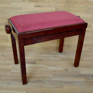 Polished mahogany and red wine velvet piano stool