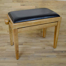 Load image into Gallery viewer, Polished maple and black leather piano stool