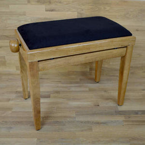 Polished maple and black velvet piano stool