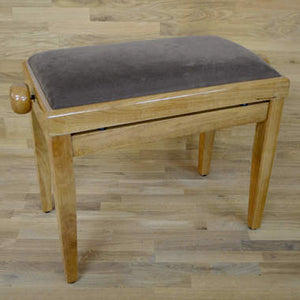 Polished maple and brown velvet piano stool