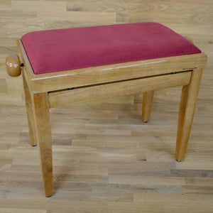 Polished maple and red wine velvet piano stool