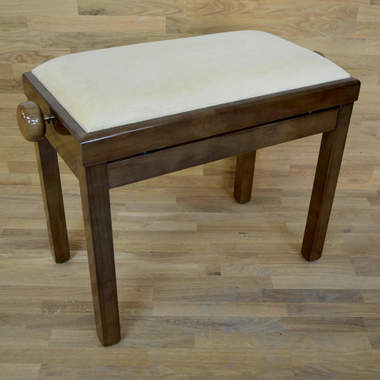 Polished walnut and beige velvet piano stool