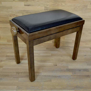 Polished walnut and black leather piano stool