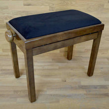 Load image into Gallery viewer, Polished walnut and black velvet piano stool