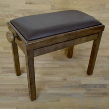 Load image into Gallery viewer, Polished walnut and brown leather piano stool