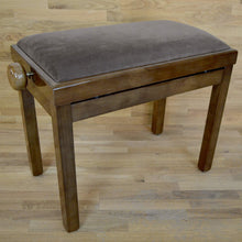 Load image into Gallery viewer, Polished walnut and brown velvet piano stool