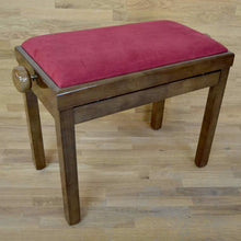 Load image into Gallery viewer, Polished walnut and red wine velvet piano stool