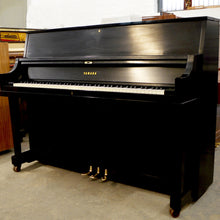 Load image into Gallery viewer, Yamaha P116 Upright Piano in black satin finish