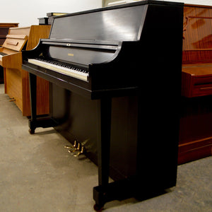 Yamaha P116 Upright Piano in black satin finish lateral