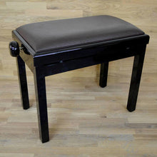 Load image into Gallery viewer, black polish brown leather piano stool