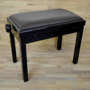 black polish brown leather piano stool