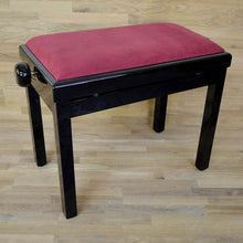 Load image into Gallery viewer, black polish red wine velvet piano stool