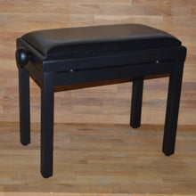Load image into Gallery viewer, Black matt black leather piano stool