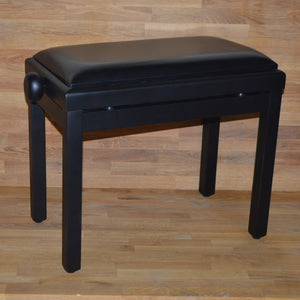 Black matt black leather piano stool