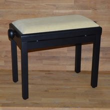 Load image into Gallery viewer, Black matt beige velvet piano stool