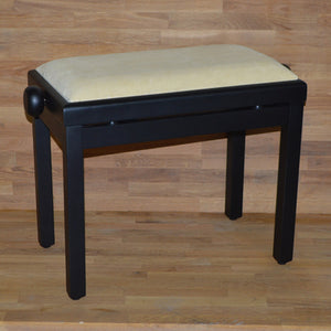 Black matt beige velvet piano stool