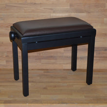 Load image into Gallery viewer, Black matt brown leather piano stool