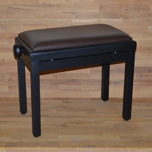 Black matt brown leather piano stool