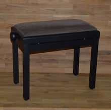 Load image into Gallery viewer, Black matt brown velvet piano stool