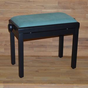 Black matt green velvet piano stool
