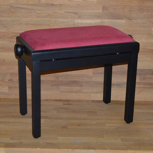 Black matt red wine velvet piano stool