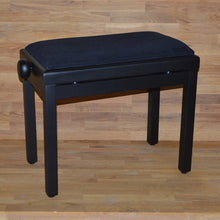 Load image into Gallery viewer, Black matt black velvet piano stool