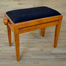 Load image into Gallery viewer, Polished Cherry Piano Bench black velvet