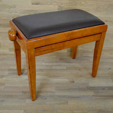 Load image into Gallery viewer, Polished Cherry Piano Bench brown leather