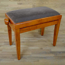 Load image into Gallery viewer, Polished Cherry Piano Bench brown velvet