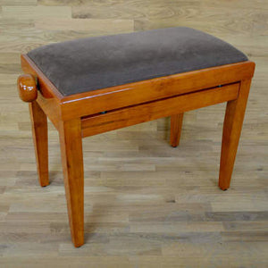 Polished Cherry Piano Bench brown velvet