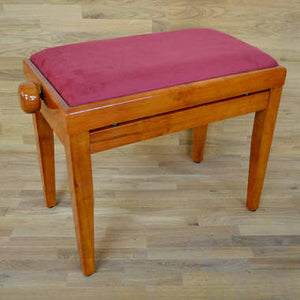 Polished Cherry Piano Bench red wine velvet