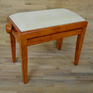Polished Cherry Piano Bench beige velvet