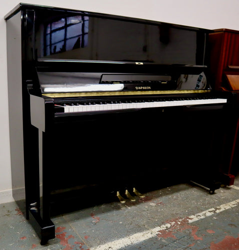 Diapason 125 model Upright Japanese made piano in black high gloss