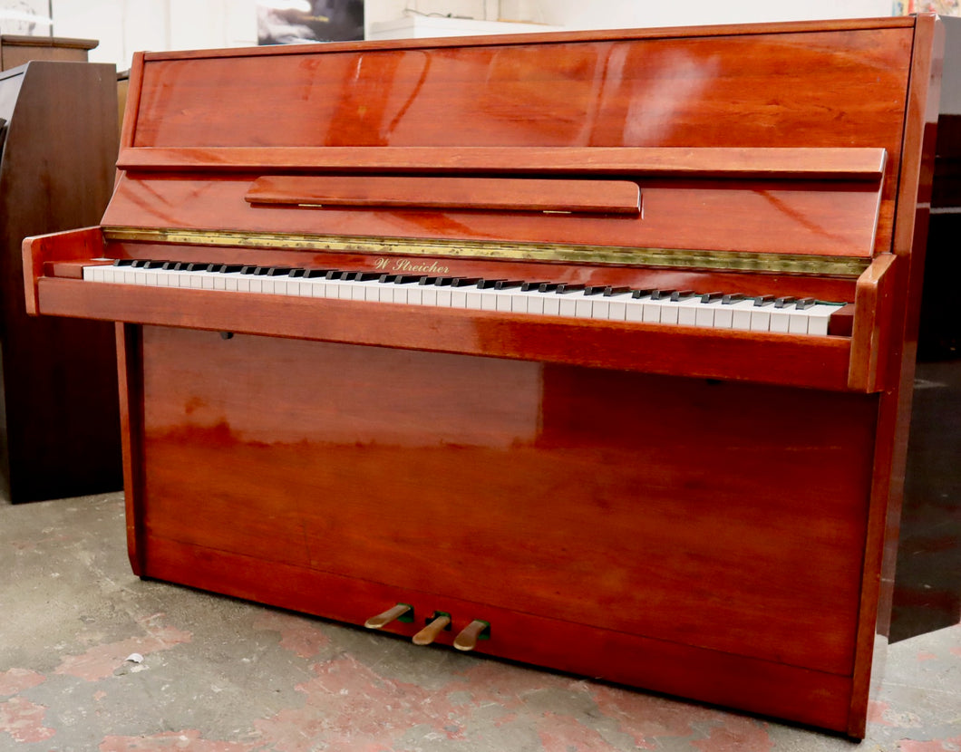 W Streicher 110 Upright piano in polished mahogany