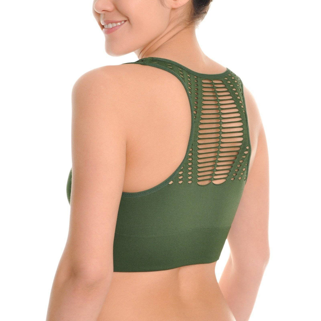 1310d97662a0d Angelina Seamless Racerback Bra with Cutouts (3-Pack)-Our Yoga World. Hover  to zoom